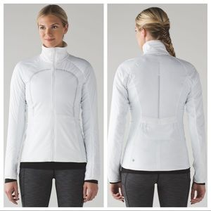 lululemon / run for cold white puffy zip up jacket